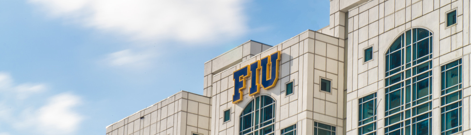 FIU sign on top of Green Library