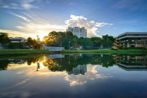 image of FIU Green Library - Lake Reflection
