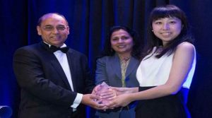 image of Dr. Ruogu Fang, PhD receiving Robin Sidhu Memorial Young Scientist Award