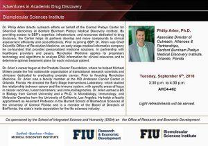 event flyer of Dr. Philip Arlen, Ph.D.