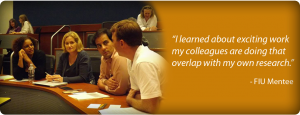 "image slide of ""I learned about exciting work my colleagues are doing that overlap with my own research."" - FIU Mentee"