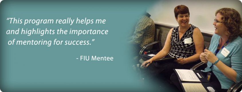 "Image slide of ""This program really helps me and highlights the importance of mentoring for success."" - FIU Mentee"