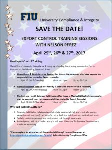 Save the date for Export COntrol Training Sessions with Nelson Perez