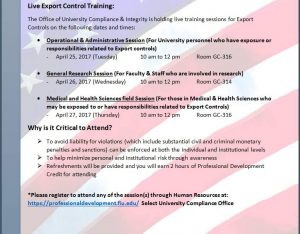 Save the Date Details for the Live Export Control training