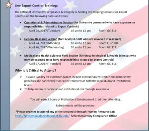 Export Controls Training Save the Date Details