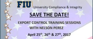 Export Controls Training Save the Date