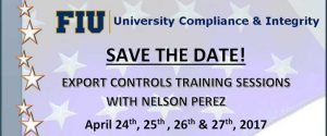 Export Controls Training Save the Date with Nelson Perez