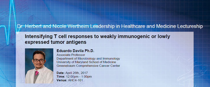 "Event notification about ""Intensifying T cell responses to weakly immunogenic or slowly expressed tumor antigens"" by Dr. Eduardo Davila"