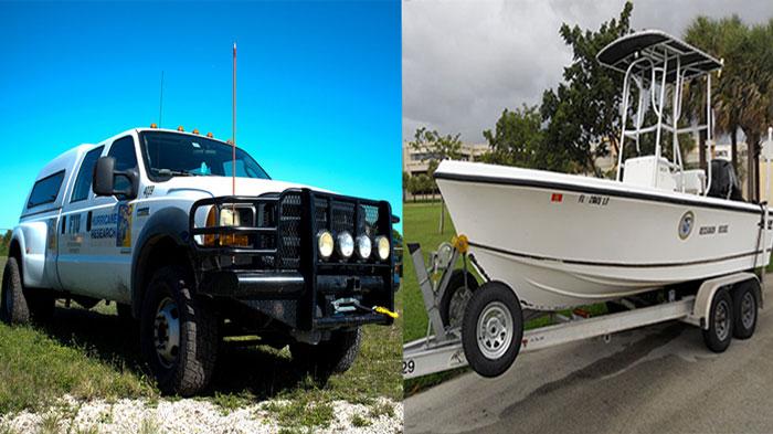 FIU Hurricane Research truck and boat